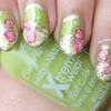 Green & Gold Vintage Roses Stiletto Nails