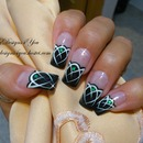 Mysterious, Black and White Emerald Gem Nails