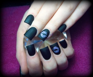 Matte Black acrylic with little kiss stamps