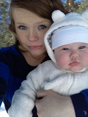 me and my daughter on our trip to the snowy mountains :)
