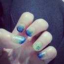 Layers of blue glitter