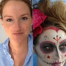 Before and after sugar skull