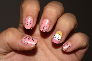 Birthday nails with cupcake on ring finger.  http://iloveprettycolours.blogspot.com/2011/10/happy-birthday-to-me.html