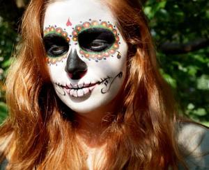 To create this look inspired by Dia De Los Muertos I used MAKE UP FOR EVER Clown White, M.A.C Pro Acrylic Paint, and a few others listed beneath...  http://hillaryhuntmua.blogspot.com https://www.facebook.com/HillaryHuntMUA