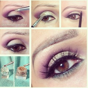 Beautiful glitter+purple eyeshadow look paired with Badkitty mink lashes from Minxlash.com