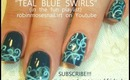 Teal Filigree Homecoming dance nail art