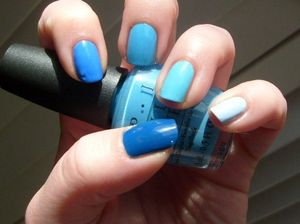 Color Club Naughty Nautical, OPI No Room For the Blues, Sally Hansen Pacific Blue, no name Sally's Girl nail polish... cannot remember what else I used