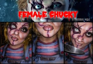 "Thought I'd turn Chucky into a girl...err...""Gal"".  Everything used as grease-based. Except for the assorted liners I had, from Wet N Wild.   Chucky never looked more sexeh! hahahaa"