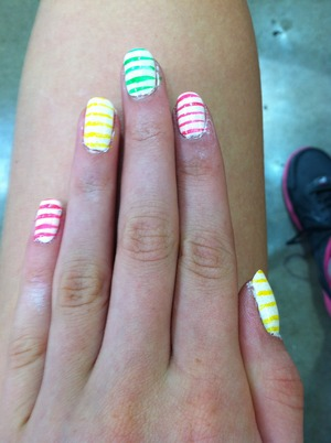 I love this for the summer! The white is by Sally Hanson and the colors are all LA colors strippers!