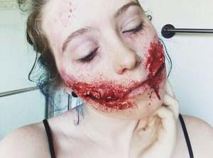 First attempt at a Chelsea Smile/Gore/Zombie makeup.