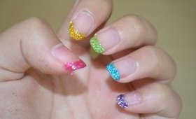 Back to School Glittery Rainbow Tips | Cyexquisite