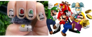 Movember Moustache Nails with a Gaming Geek Twist