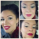 Cut crease and red lips