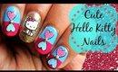 Hello Kitty Sticker Nailart. Easy and Cute | Tutorial