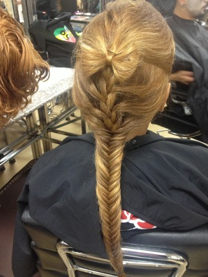 Princess into a fishtail with a bow to top it off