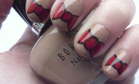 Chic Red and Black Bow Nail Art