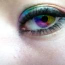 Rainbow makeup and rainbow eye.