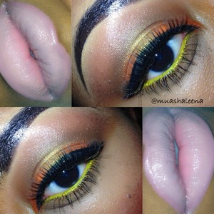Orange from Make Up Forever, MAV Old Gold in the center of my lid!   Follow me on Instsgram @muashaleena