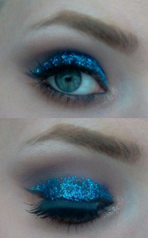 """NAKED palette eyeshadows used:    Naked   Smog  Creep  Sidecar    Not listed: Maybelline color tattoo in """"Everlasting Navy"""""""