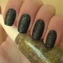 Matte Black with Gold Glitter
