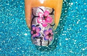 Floral spark nailart video tutorial: www.youtube.com/nailartbynidhi