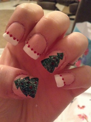 My Christmas tree nails and ornament nails. Did with broadway nails in  -ballet slippers -evening dress Cutie girl red La color's Art Deco white