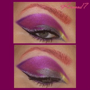 I wanted to use the Glamourdolleyes  pressed shadows i got last week and the Hollywood glitter and this is what came of it! I think I like it! :D I used:  Doll House (pressed)  Candy Floss (pressed)  My Belle (pressed)  Pinch of Pixie (pressed)  Hollywood Glitter (Discontinued)  The dark purple in the outer crease is Urban shadow from the Urban Decay Electric Palette.