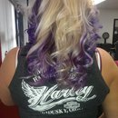 purple and curls