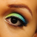 Green/Blue Tropical Flower Inspired Look