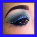 Blue green shadow and glitter liner