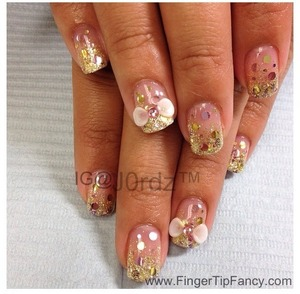 FOR DETAILS CLICK LINK http://fingertipfancy.com/gold-nails-with-light-pink-holograms