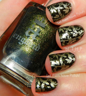 This look features A England Beauty Never Fails as my base. Bundle Monster stamping plate BM20 and China Glaze Passion for the stamp. All topped off with Seche Vite.