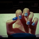White And Electric Blue Stripes