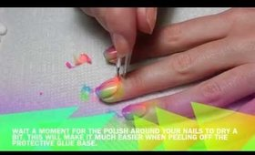 Neon POP Rainbow Ombre Nail Art Tutorial
