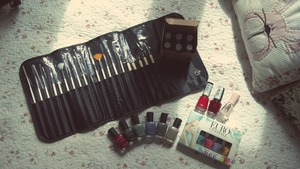 My father gave me for a early Christmas a bundle monster nail art tool kit, zoya pixie dust collection, some O.P.I polishes as well as a Revlon and a Bourjoirs polish, and Essie encrusted treasures collection. Such a happy time!