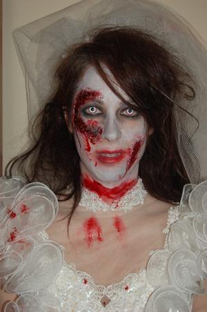Zombie Bride with custom homemade prosthetics.
