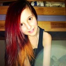 Red and ginger dip-dye