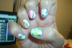 Rainbow Water Marble Nails www.tippertea.tumblr.com