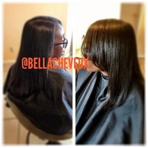 Press and flat iron on natural hair