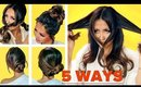 ★ 5 LAZY Bun HACK Methods for DARK HAIR ★ EASY UPDO HAIRSTYLES Transformations with Puff
