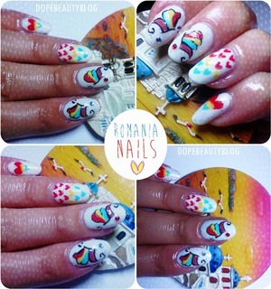 I've created these nails for celebrating my country. Romania. More details and pictures you can find on my blog. http://dopebeautyblog.blogspot.ro/