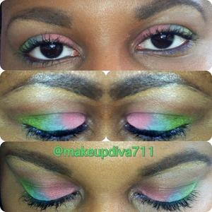 #todayslook #limerainbow #coral #limegreen  #skyblue #makeup4ever #maccosmetic #makeupjunkie #macjunkie #beatface #FOTD