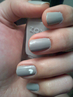 "Zoya's ""Dove"" with a white heart on the accent nail!"