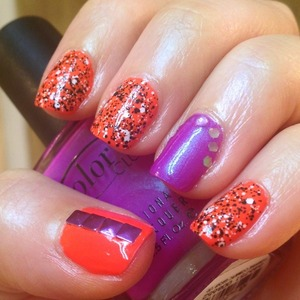 I had to bust out my other new OCC nail polish called Radiate. I envisioned it under Different Dimensions Social Suicide and along side Color Club's Ultra Violet. I really love the contrast of the totally neon orange (the photos don't do it justice), the purple (with a subtle green shimmer) and also the black and white glitter against the orange background too. Actually now that I look at it Radiate and Social Suicide would make a great Halloween nail combo.  http://michtymaxx.blogspot.com.au/2013/03/ultra-violet-radiation.html