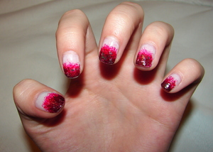 red gradient nails