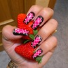 Hot Pink Corset effect Nails