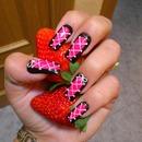 Hot Pink Corset effect Nails