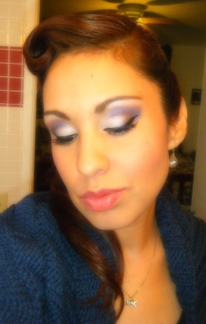 Found some photos from last Winter, here I am sure I used my NYX white jumbo pencil as base and my Coastal Scents 78 palette.