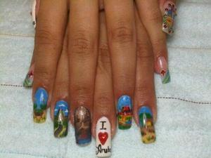 Nails representing Aruba [celebration is on March 18th]!