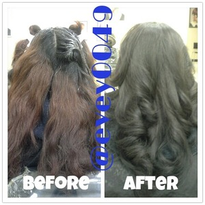 Tint back to natural and blow out @evey0049